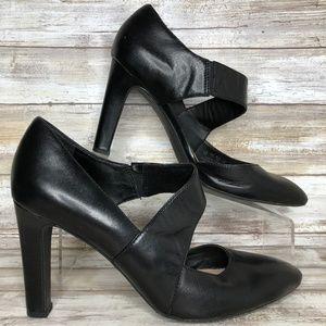 Franco Sarto Tito 9.5M Black Leather Dress Pumps